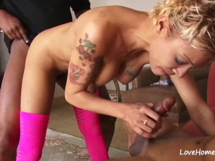 Hot babe with big tits in a 3some