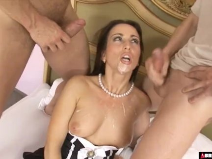 'Pleasing Her Master And His Friend With Both Her Holes'