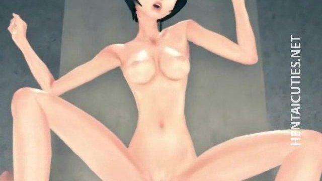 Sexy 3D hentai cutie gets jizzed - sex video