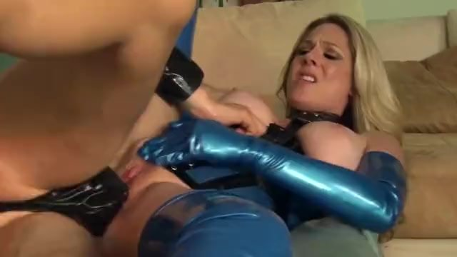 Fucking in shiny latex lingerie and high heel