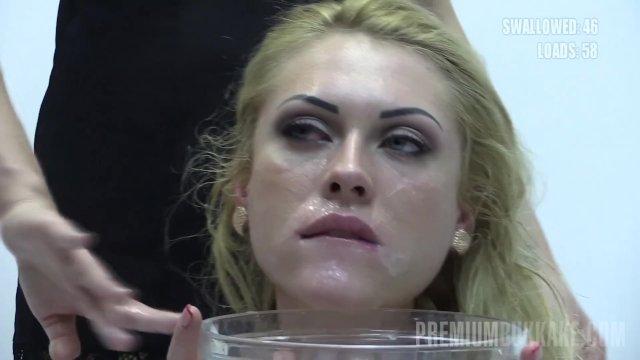 Premium Bukkake - Monro swallows 82 huge mouthful cum loads