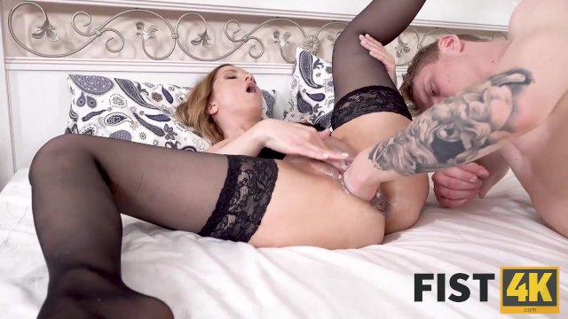 FIST4K. Big bed is comfortable for girl who spreads butt for guys fist