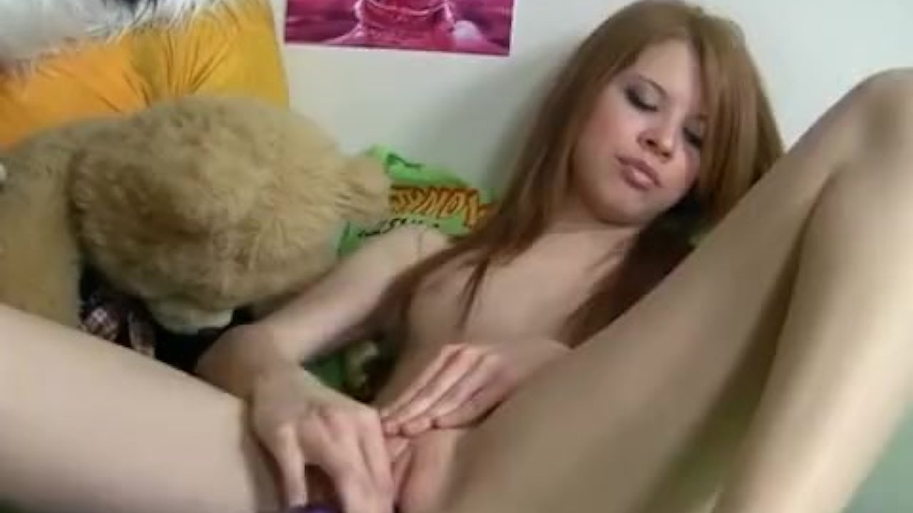 Cute girl has crazy sex with dildo