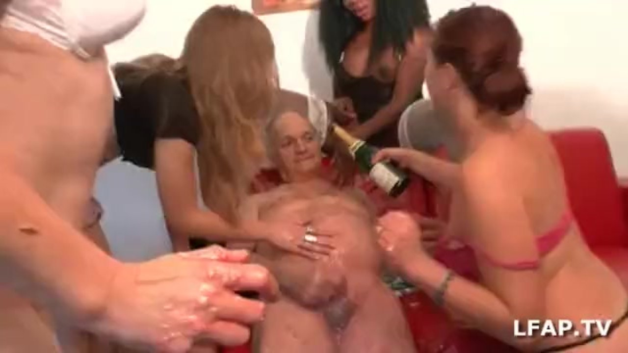 French old man fucks 4 girls for his birthday