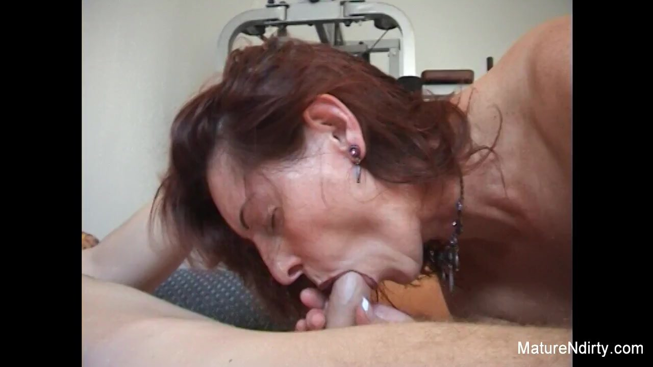 Pierced gran gets an anal workout in the gym