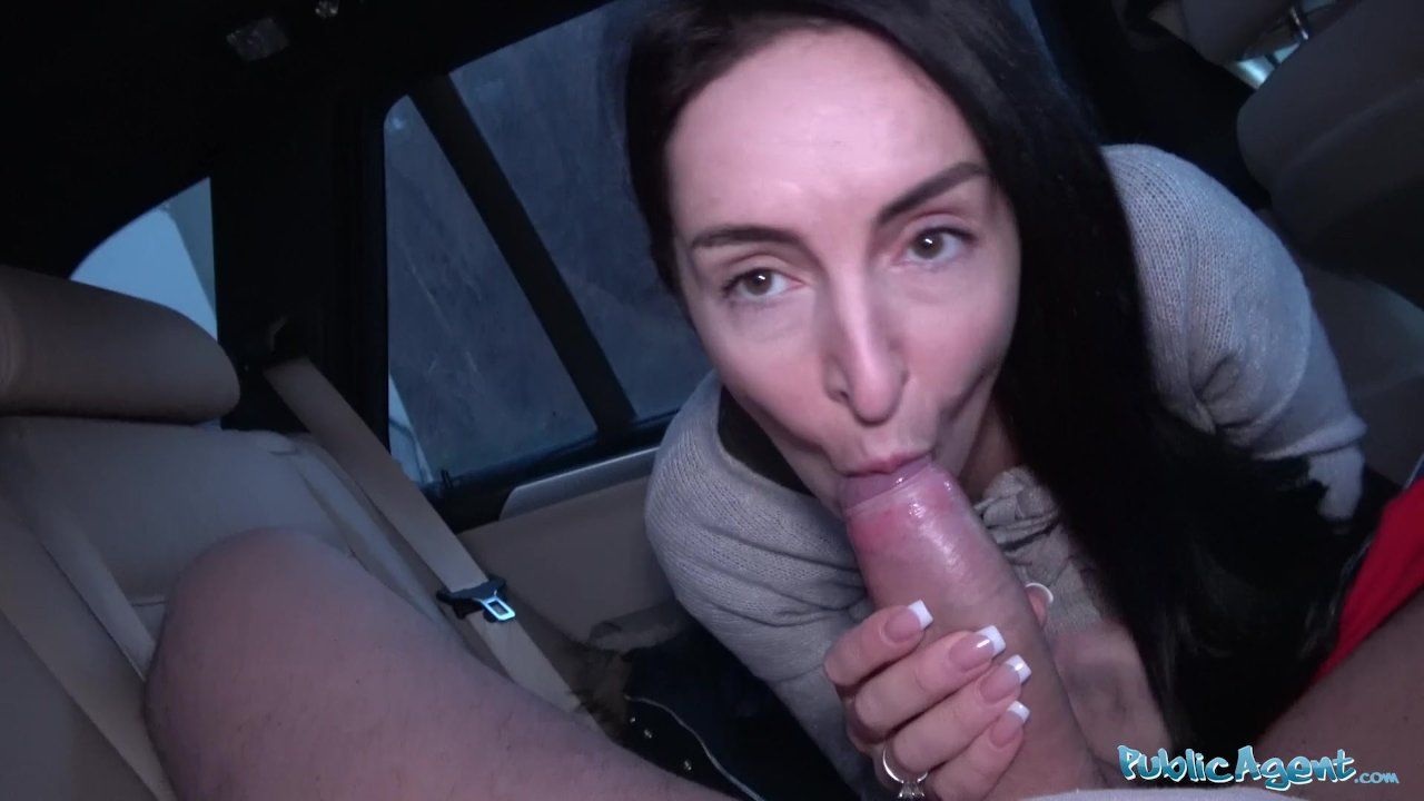 Public Agent Brunette with nice natural tits and pale skin