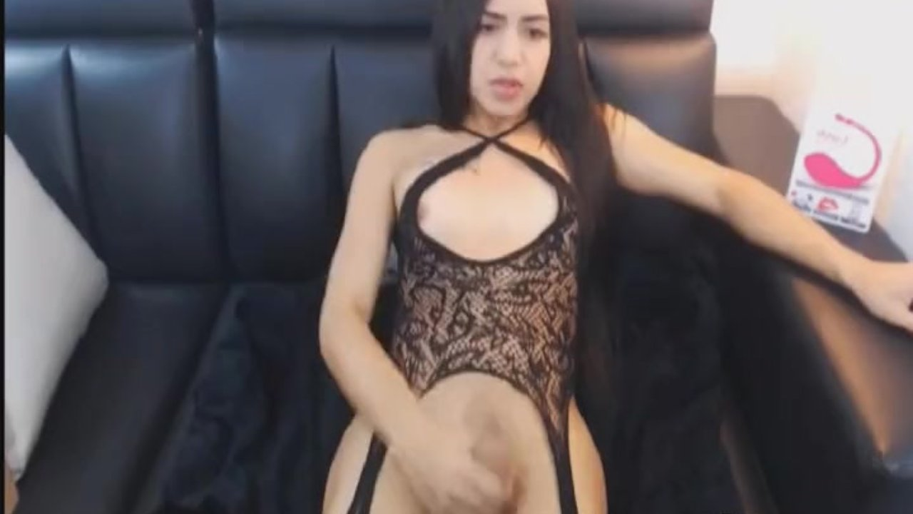Cute Teen Tranny Stroking her Hard Dick