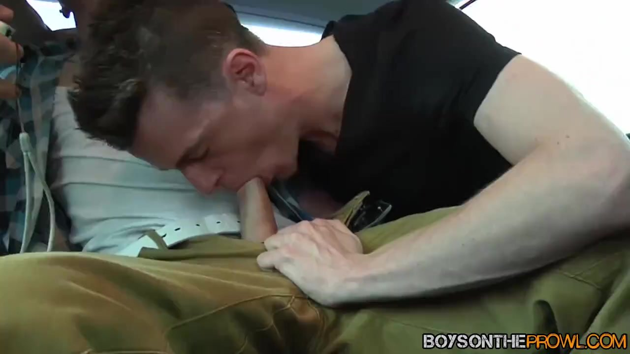 Three amateur twinks picked up and bang in a vehicle