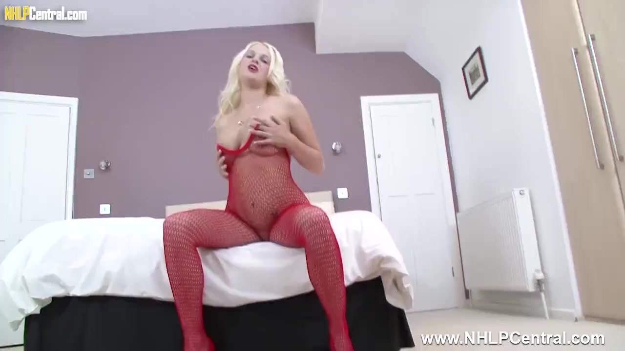 Busty blonde Kelly Fox masturbates big dildo in sexy red fishnets and heels