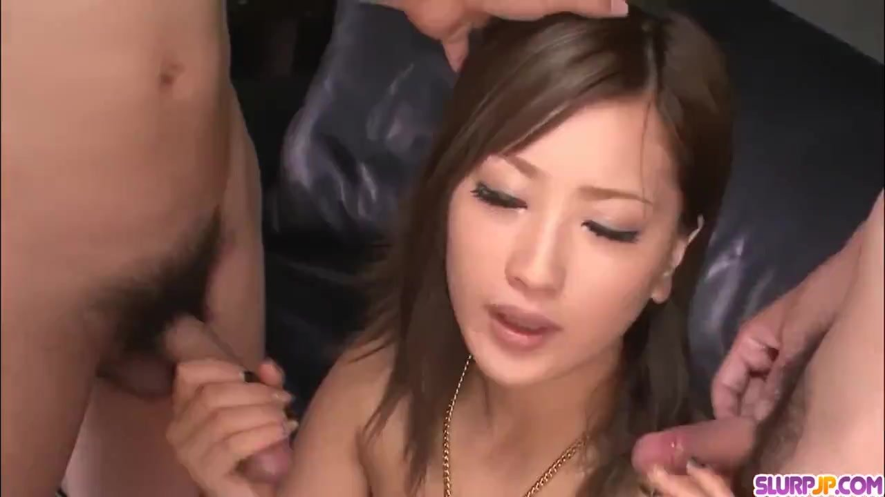 Aika sucks dick like a goddess during hot threeesome - More at Slurpjp com