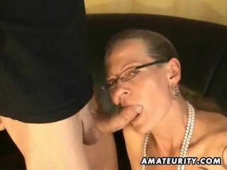 Amateur footjob handjob and blowjob with cum