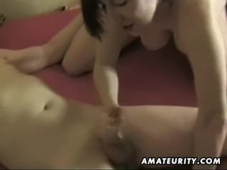 Busty amateur wife sucks and fucks with cum