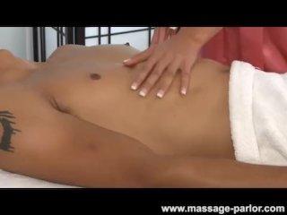 Alliyah Skye massage and blows a black cock