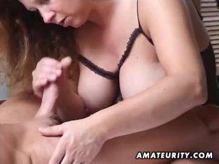 Busty amateur MILF fucks husband