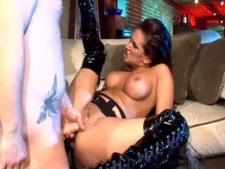 brunette fucked in shiny black stiletto boots