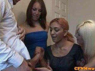 CFNM blonde femdom babe takes jizz in mouth