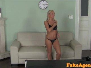 FakeAgent Hot Blonde babe massages cock