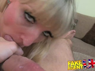 FakeAgentUK Tall blonde MILF fucked on couch