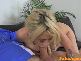 FakeAgent Sexy blonde amateur takes facial