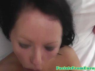 Curvy eurobabe nailed and facialized pov