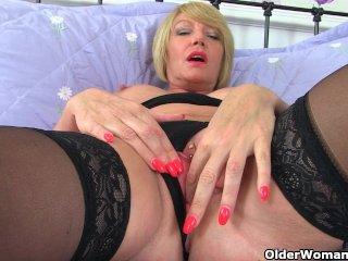 British milf Amy in black stockings