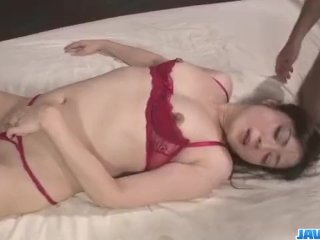 Serious threesome along babe in red lingerie,