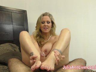 Julia Ann is Horny & Gives Footjob!