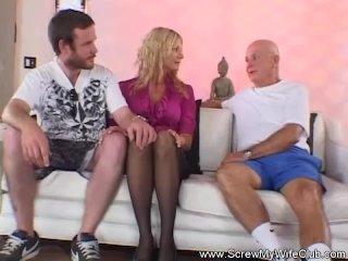 Blonde MILF Housewife Tries Swinging