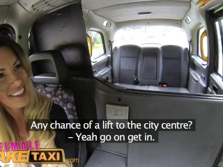 FemaleFakeTaxi Hot tight Essex pussy takes big black cock in London taxi