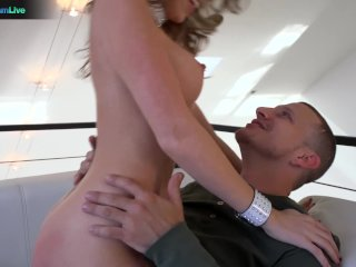 Courtney Cummz in fishnet stockings creampie after a hard rough fuck