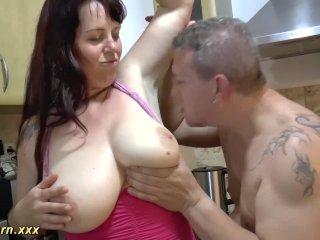 sexy bbw stepmom gives footjob