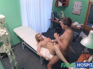 FakeHospital Sexy blonde MILF feeds then fucks doctor on desk