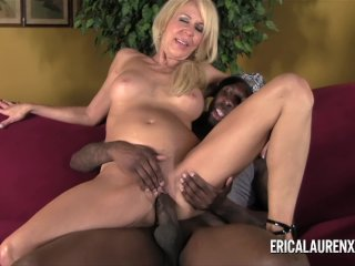 Blonde MILF Takes On Young Black Stud
