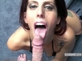 Lavender Rayne is going down on a stiff cock