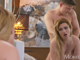 MOM Chubby natural big tits MILF loves to play with younger
