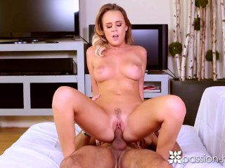 PASSION-HD Busty blonde Ashley Adams toys pussy before fuck and facial