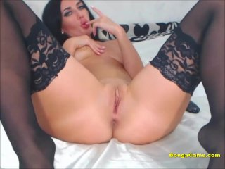 Horny Amateur In Black Stockings Toying Both Of Her Holes