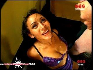 Busty slut teaches her amateur friend how to be a good cum bucket