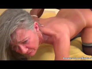 Grey haired granny enjoys big black cock