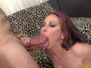 Horny MILF Masturbates Then Takes a Cock