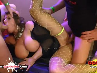 Sexy MILF with Huge Tits lost in a sea of Cocks – German Goo Girls