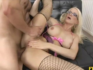 Glasses and high heels blonde milf assfuck