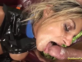 busty oiled Milf extreme fisted