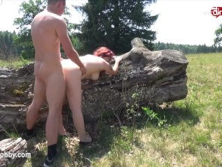 My Dirty Hobby – Busty babe gets her face creamed outdoors