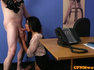 Cute euro dominates naked guy on her knees
