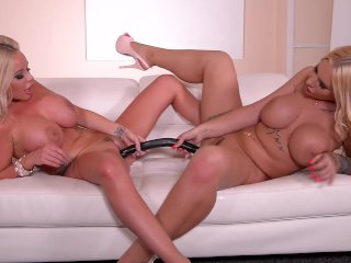 Busty Babes Kyra Hot and Rachele Richey Ride a Black Double Dong
