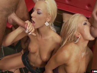 Two Blonde Sluts Gangbanged Hard In A Bar