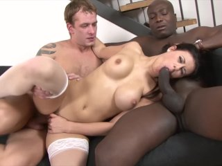 Interracial anal and pussy fuck babe gangbang with facial cumshots swallow