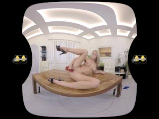 Virtualpee - Busty blonde sits in pee after dildo play