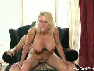 Chubby Dutch Blonde MILF Rides Cock In Holland